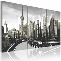 Schilderij - Grijs Shanghai, China, 3 luik