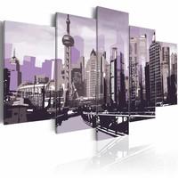 Schilderij - Shanghai wolkenkrabbers, China, Paars, 2 Maten, 5luik