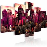 Schilderij - Stad van dromen, Roze, 2 Maten, 5luik