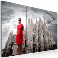 Canvas Schilderij - Milaan, hoofdstad van de mode.  Italië, Rood/Grijs, 2 Maten, 3luik