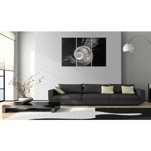 Schilderij - De wenteltrap naar beneden, Zwart/Grijs, 3luik