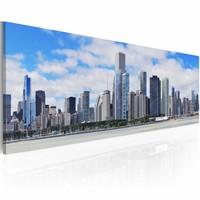 Schilderij - Grote stad , grote verwachtingen ,Blauw, Premium print