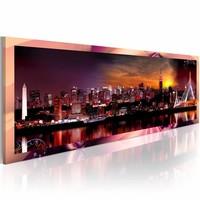 Schilderij - Koninkrijk, Roze/Oranje, 120X40, 1luik