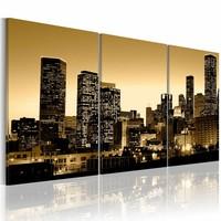 Canvas Schilderij - Stralende stad, Geel, 120X60, 3luik