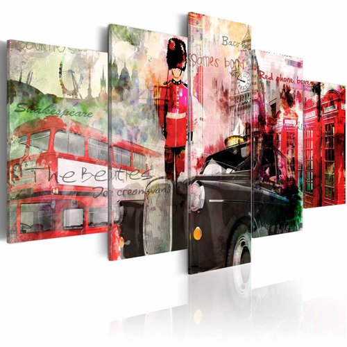Schilderij - Gedachten aan Londen, Rood, 5luik