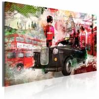 Canvas Schilderij - Herinneringen van  Londen, Rood, 2 Maten, 1luik