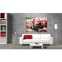Schilderij - Herinneringen van  Londen, Rood, wanddecoratie