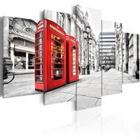 Schilderij - Straat in Londen, Rood/Zwart-Wit, 5luik, premium print