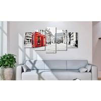 Schilderij - Straat in Londen, Rood/Zwart-Wit, 5luik