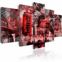 Schilderij - Londen collage, Rood, 5luik, premium print