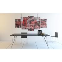 Schilderij - Londen collage, Rood, 5luik