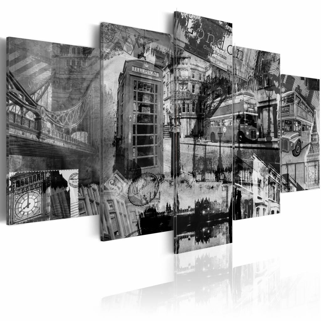 Schilderij - De essentie van Londen, Zwart-Wit, 5luik, wanddecoratie