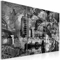 Schilderij - De essentie van Londen, Zwart-Wit, 3luik, wanddecoratie