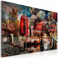 Schilderij - Londen collage, Multi-gekleurd, 3luik, premium print