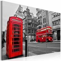 Schilderij - Het leven in Londen, Zwart-Wit/Rood, 3luik, Premium print