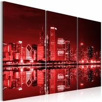 Schilderij - Chicago in donker rood licht, 2 Maten, 3luik