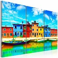 Canvas Schilderij - Zonnig Venetië, Multi-gekleurd, 2 Maten, 3luik