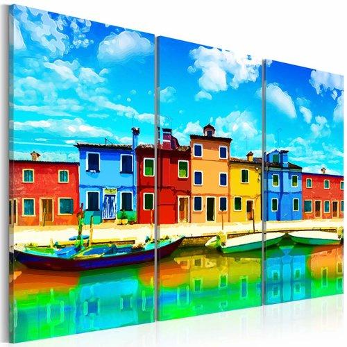Schilderij - Zonnig Venetië, Multi-gekleurd, 3luik, Premium print