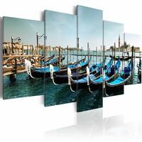 Schilderij - Kanaal in Venetie, Blauw, 5luik, wanddecoratie