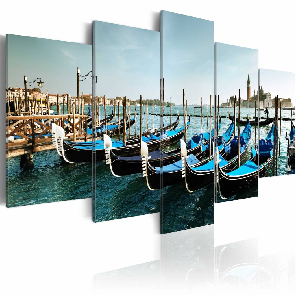 Schilderij - Kanaal in Venetie, Blauw, 5luik