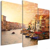 Schilderij - De schoonheid van Venetië, Geel/Oranje, 2 Maten, 3luik