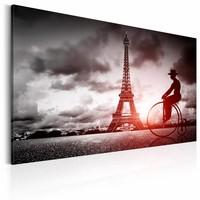 Schilderij - Magisch Parijs, Zwart-Wit/Rood