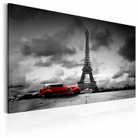 Schilderij - Reis door Parijs, Zwart-Wit, Rood, 2 Maten, 1 luik