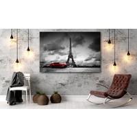 Schilderij - Reis door Parijs, Zwart-Wit, Rood, 1 luik