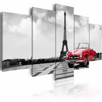 Schilderij - Reis door Parijs, Zwart-Wit/Rood, 2 Maten, 5luik