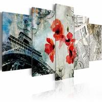 Canvas Schilderij - Romantisch Parijs, Multi-gekleurd, 2 Maten, 5luik