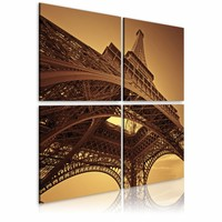 Canvas , Schilderij - Eiffeltoren - Parijs, Bruin, 2 Maten, 4luik