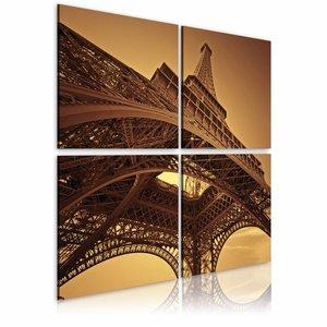 Schilderij - Eiffeltoren - Parijs, Bruin, 2 Maten, 4luik