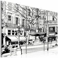 Schilderij - Schets van Parijs plein, Zwart-Wit, 2 Maten, 3luik