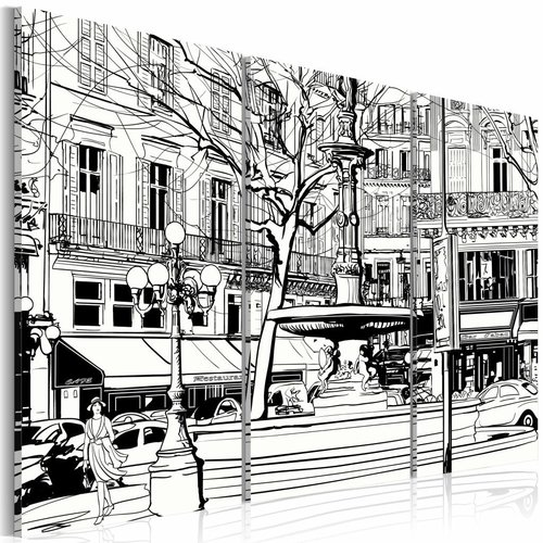 Schilderij - Schets van Parijs plein, Zwart-Wit, 3luik
