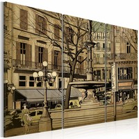 Schilderij - Parijse fontein in sepia, 2 Maten, 3luik