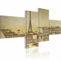 Schilderij - Parijs in retro, Sepia, 4luik, wanddecoratie