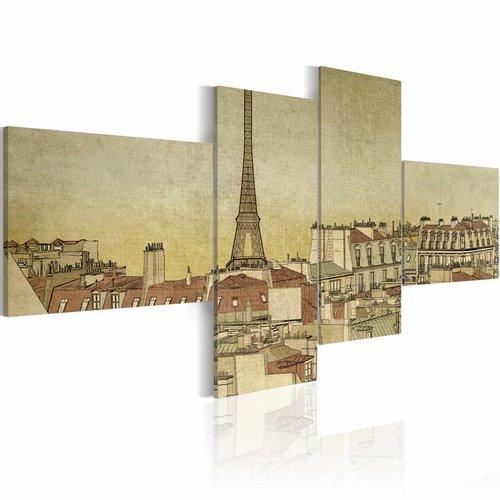Schilderij - Parijs in retro, Sepia, 4luik