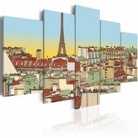 Schilderij - Tekening van Parijs, Multi-gekleurd, 5luik, wanddecoratie