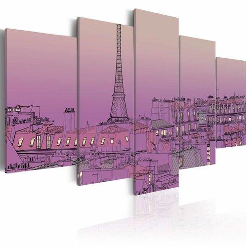 Schilderij - Lavendel zonsopkomst over Parijs, 5luik
