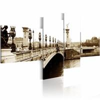 Schilderij - Pont Alexandre-III in Parijs, Sepia,  4luik