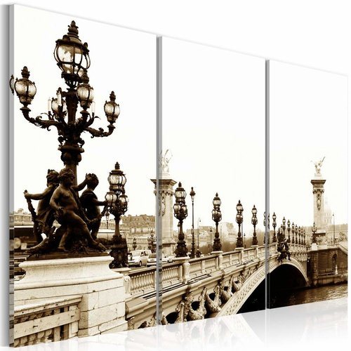 Schilderij - Romantische wandeling door Parijs, Sepia, 3luik, wanddecoratie