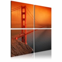 Canvas Schilderij - San Francisco - Golden Gate Bridge, Oranje/Rood, 2 Maten, 4luik