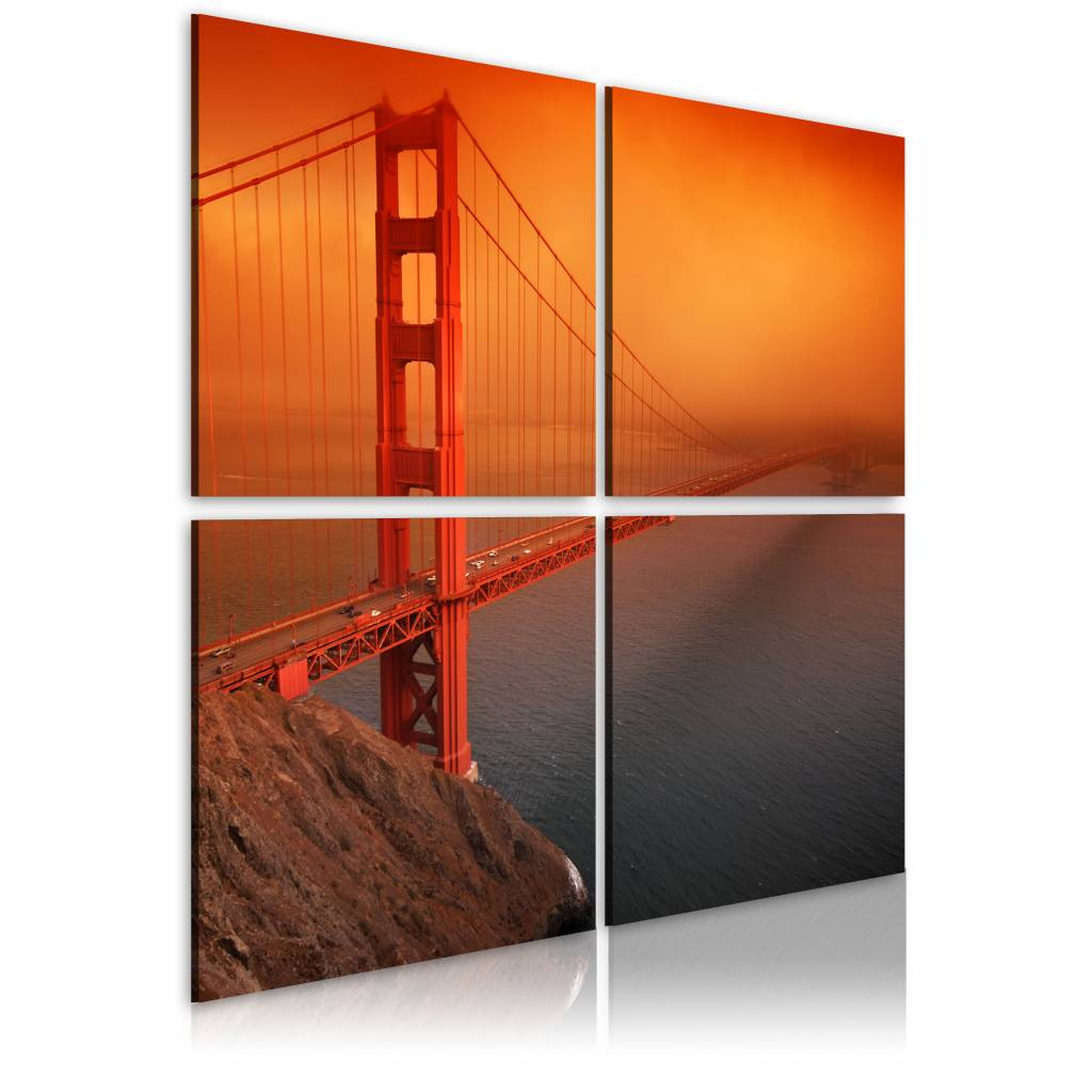 Schilderij - San Francisco - Golden Gate Bridge, Oranje/Rood, 4luik