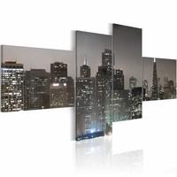 Schilderij - San Francisco 's avonds, grijs, 4luik, wanddecoratie