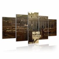 Schilderij - Sint Pietersplein, Vaticaan, Rome, Bruin, 2 Maten, 5luik