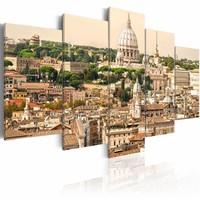 Schilderij - De daken van Rome, Beige, 2 Maten, 5luik