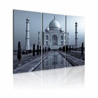 Schilderij - Taj Mahaj in de nacht, India, 3luik, grijs/blauw, wanddecoratie