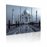 Schilderij - Taj Mahal in de avond , India, Blauw, 2 Maten, 3luik