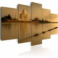 Schilderij - The legendary Taj Mahal, Bruin, 2 Maten, 5luik