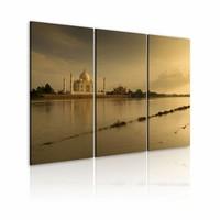 Schilderij - Taj Mahal, India, Sepia, 2 Maten, 3luik